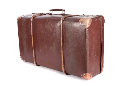 12817229 - brown suitcase isolated on white background