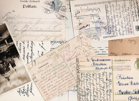 3184284 - collage of old handwritten letters and postcards