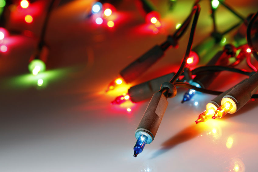 45478233 - closeup of christmas lights glowing