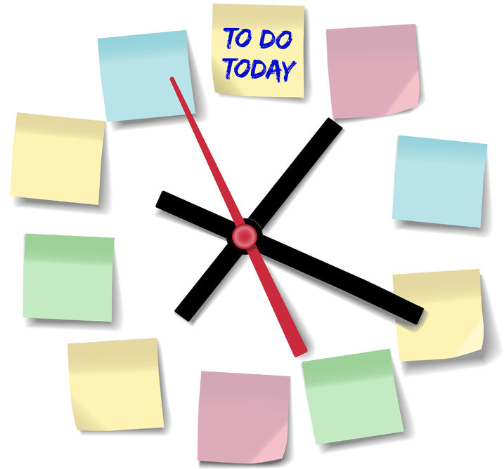30181783 - post daily to do list schedule on memo notes on time clock